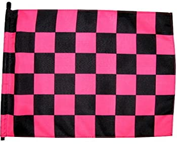 6 ft Pink & Black Checker Safety Flag with 1/4  White Pole and Mounting Hardware