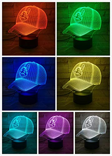 ZZFGXX Nachttischlampe-Cleveland Indians Baseball Cap Nachtlichter-fernbedienung Touch-Fernbedienung/Farbwechsel Licht/Nachtlicht/Neujahrsgeschenk / 3D-Phantomlicht