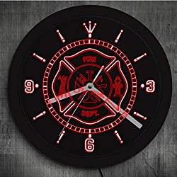 Buzdao Fire Department Led Neon Wall Clock Rescue Fire Dept Color Changing Wall Light Gift for Fireman Firefighter Luminous Wall Clock