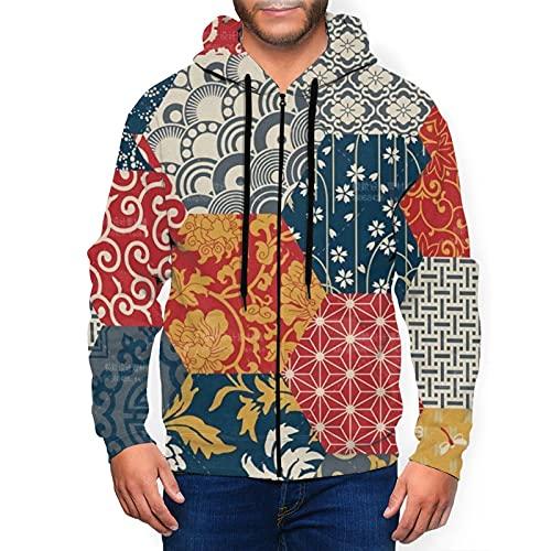 Sudadera con capucha para hombre con cremallera completa con capucha y diseño clásico con capucha, Azulejos sin costuras, diseño de patchwork, color negro, S