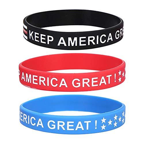Bracelet en silicone 3 pièces, bracelet patriotique, bracelet décontracté simple et élégant pour femmes hommes