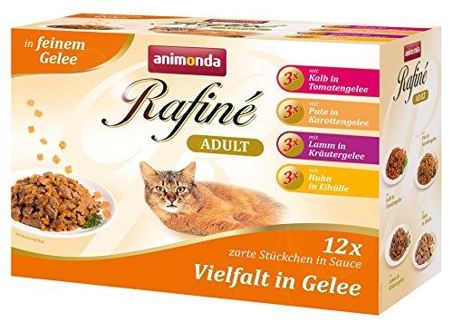 animonda Rafiné Adult Katzenfutter, Nassfutter für ausgewachsene Katzen, Frischebeutel, Vielfalt in Gelee, 4er Pack (4 x 12 x 100g)