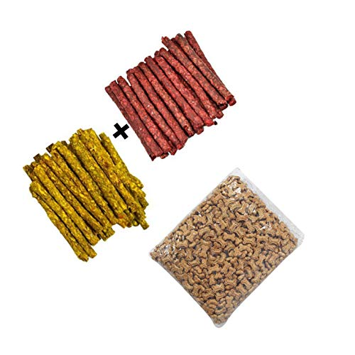 VIP Collection Chicken and Mutton Chew Stick Munchies, Combo 2 kg Pack with 100 Grams Dog Chicken Flavor Biscuits Free