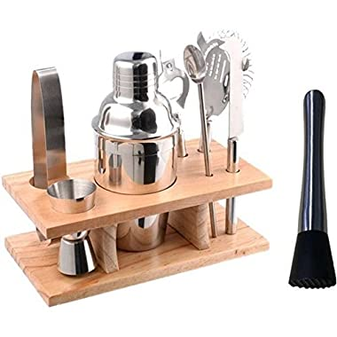 Stainless Steel Cocktail Shaker Set Bundle of 9 Bar Tools Bartender Accessories (350 Millileter)