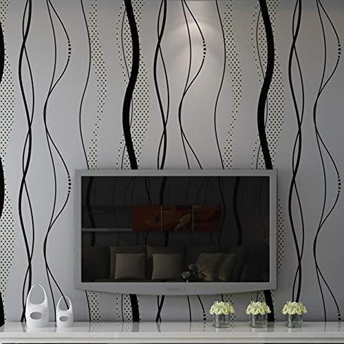 3D Papel Pintado o Papel de Pared de Estilo Moderno y Simple con Dibujos de Planta Acuática de Agrupación de Estampado para Decoración de Salones y Habitaciones (Dibujo de rayas gris)