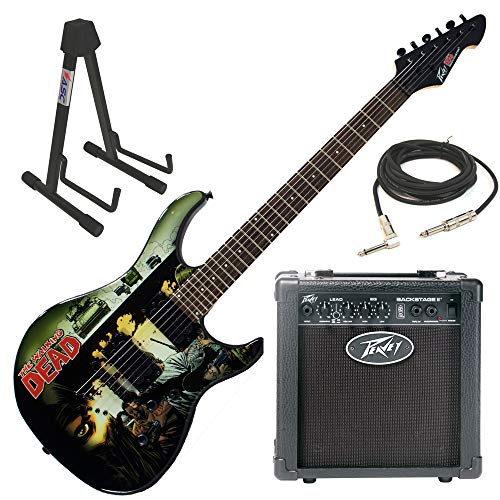 Peavey The Walking Dead Predator Electric Guitar Beginner Package with Peavey Backstage Transtube Guitar Amp, adjustable guitar stand, & 15 foot guitar cable