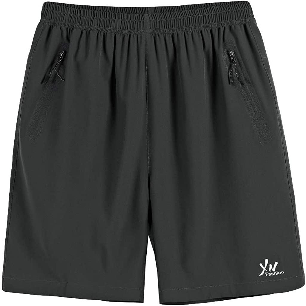 DIOMOR Plus Size Solid Color Zipper Pockets Swim Trunks for Men Big and Tall Elastic Waist Beach Shorts Bathing Suit