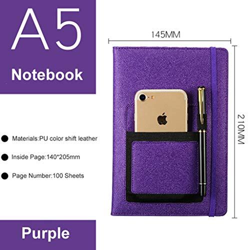 LIUCHEN@ Cuaderno2019 Creative Faux Leather Agenda Planner Notebook Classic Business Diary Notebook Portable A5 Travel Journal Papelería escolar en cuadernos de Office & School Supplies, Purple