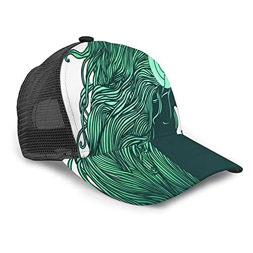 Gorra de Beisbol para Hombres Mujeres Espalda de Malla Snapback,Perfil de niña Bonita con Cabello Largo en Auriculares,Sombrero del Camionero Deportes al Aire Libre para Viajar