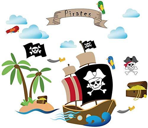 Barco pirata pegatinas de pared habitación infantil pegatinas de pared dormitorio infantil bebé crianza pegatinas de pared decoración de habitación temática pirata