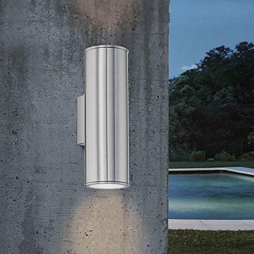 EGLO LED Außen-Wandlampe Riga, 2 flammige Außenleuchte, Wandleuchte aus Edelstahl, Farbe: Silber, IP44