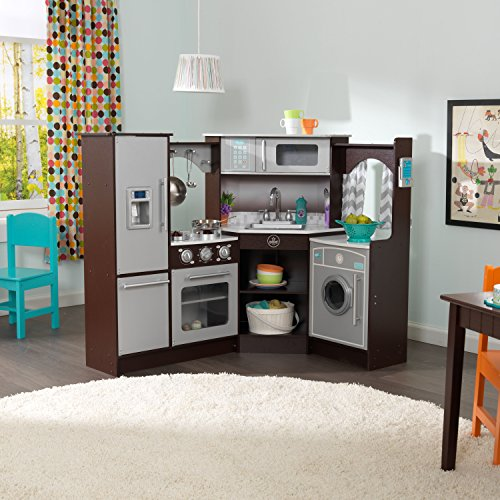 KidKraft Ultimate Corner Play Kitchen is one of the best wooden toy kitchens for kids