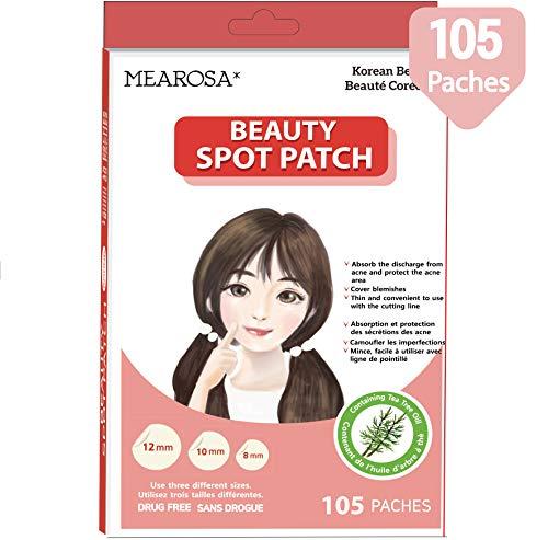 Mearosa - Parches de sanación de acné; cubierta absorbente, parche de manchas hidrocoloide, parche de belleza, 3 tamaños, aceite de árbol de té, todo tipo de piel (105 parches)