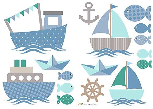 Wandtattoo Schiffe Blau-Grau Maritime Wandaufkleber fürs Kinderzimmer, Babyzimmer, Baby Mädchen Junge von Jabalou
