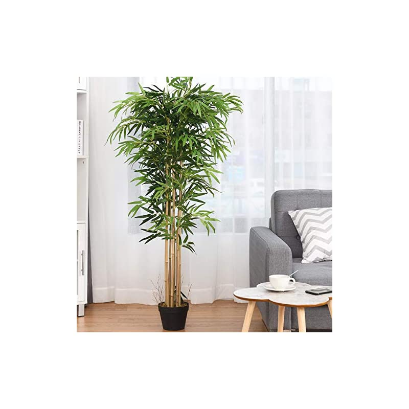 silk flower arrangements happygrill artificial bamboo tree greenery plants in nursery pot fake decorative trees for home, office, 5ft high
