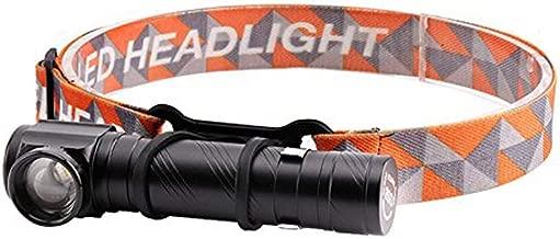 Lámpara LED 2000lm 2-en-1 Lámpara recargable USB Antorcha LED de ángulo recto con LED, Cabeza de zoom ajustable, Base magnética, Clip, Diadema (batería incorporada y puerto USB)