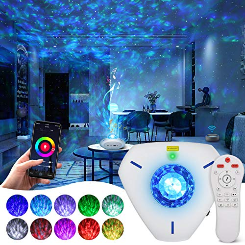 Smart Star Projector Galaxy Light Projector with Bluetooth Music Speaker and Remote Control Work with Alexa Google Home Star Projector for Ceiling for Adults Kids Star Light Projector for Bedroom
