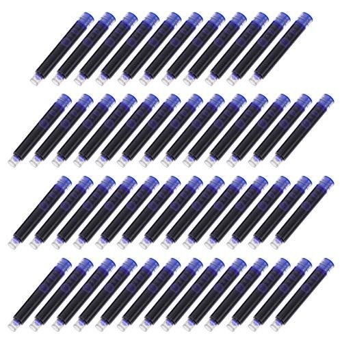 NUOBESTY 100 Cartuchos de Tinta Azul Cartuchos de Recarga para Plumas Estilográficas Pluma Caligrafía Suministros de Oficina