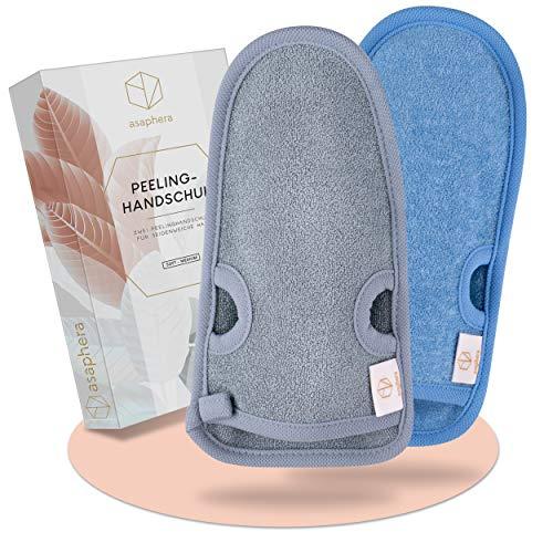 asaphera│Peelinghandschuhe – Hamam Peelinghandschuh für Gesicht & Köper – Inkl. Peeling Guide & Saugnäpfe – Peeling Handschuhe mit Daumenlöchern – Massagehandschuh aus Bambusfasern [2]
