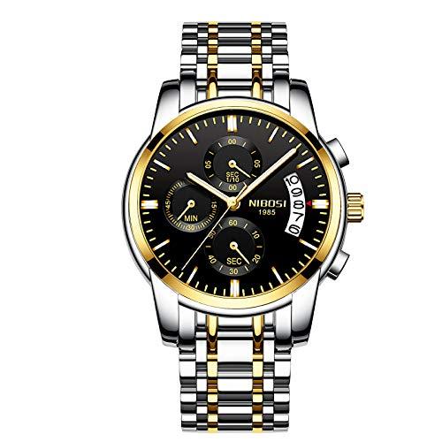 NIBOSI Chronograph Men's Watch (Gold & Black Dial Green Colored Strap)