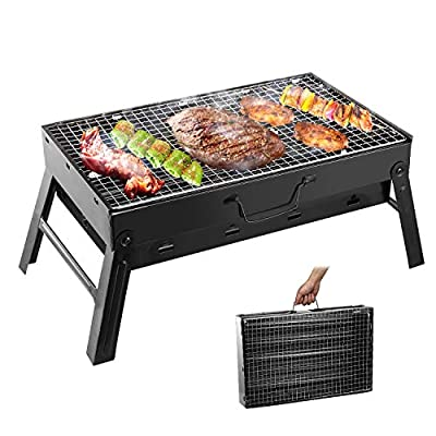 Folding Portable Barbecue Charcoal Grill, Moclever Stainless Steel Small Charcoal Grill, Mini BBQ Tool Kits for Outdoor Cooking Camping Picnics Beach