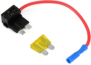 Pixnor 12V ATO ATC Add A Circuit Fuse Tap Piggy Back Standard Blade Fuse Holder with 20A Blade Fuse - Size M