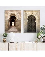Islamisk arkitektur affisch Marockansk dörr väggkonst bild Kreativ religion Muslim canvas målning och tryck modern heminredning 50x70cmx2 ingen ram