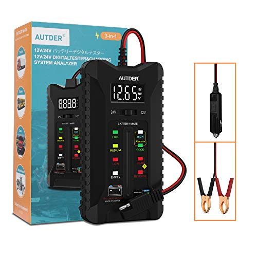 AUTDER 12V/24V Digital Car Battery Tester, Battery Condition Tester & Alternator Charging System Analyzer, Automotive Voltmeter with LCD Display and LED Indication, Lead Length 23.6 Inches