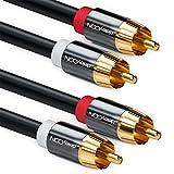 deleyCON 5m Cable RCA Audio Estéreo RCA Cinch 2X RCA Enchufe a 2X Enchufe RCA - Negro