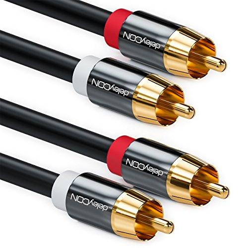 deleyCON 0,5m Cavo Stereo Audio Cinch Cavo Cinch RCA 2x Spine Cinch per 2x Prese Cinch Sistema HiFi Ricevitore HiFi Hometheater Lettore - Nero