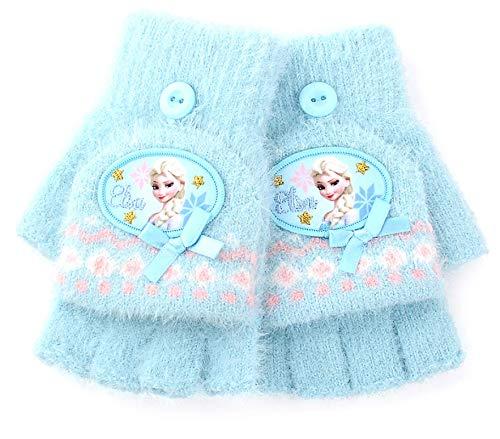 Guantes de invierno para niños, niñas, primaria, media dedo, princesa, niña, otoño e invierno, para bebé, helado y nieve, bordes extraños, KT-S9025 Hello Kitty en polvo ligero