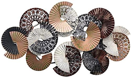 LLC- SUDA Arte de Pared de Metal, Pared de Metal Art Deco, Estilo nórdico Sector estereoscópico Colgante de Pared de Hierro Forjado, para Colgante de Escultura de Pared Personalizada 35x19 Pulgadas