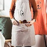 Lindong Süß Kartoon Schürze mit Tasche für Frauen Kinder Wasserdicht Baumwolle Leinen Küchenschürze Latzschürze Kochschürze Erwachsene Grau - 4