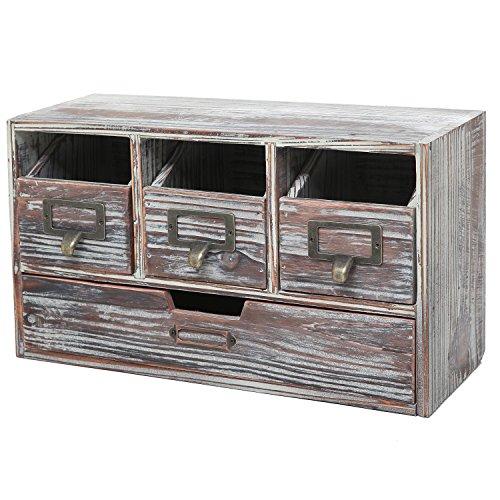 Rustic Brown Torched Wood Finish Desktop Office Organizer Drawers/Craft Supplies Storage Cabinet