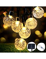 OMERIL Solar String Lights, 26ft Outdoor Garden Lights Solar/USB Plug-in Powered, Waterproof 50 LEDs Crystal Ball Decorative Light for Tree, Patio, Yard, Wedding, Party, Indoor/Outdoor, Warm White