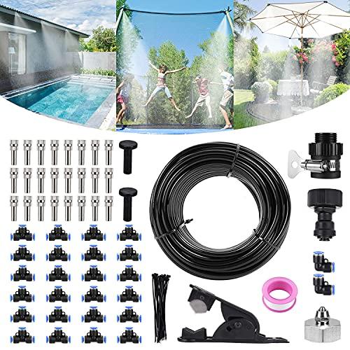 Bearbro bewässerungssystem Outdoor, DIY Outdoor Misting System, Automatische Bewässerung Sprühnebel Kühlung Kit für Terrasse Garten Gewächshaus Pavillon Trampoline (59.0FT/18M)