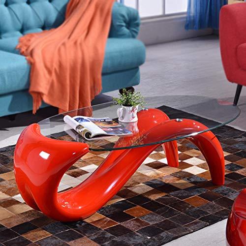 Moderna Sala de Estar Mesa de Café Vidrio Templado Mesa de Té Moda Oval Mesa de Centro Sofá Mesa Auxiliar Para Hotel Bar Empresa Lobby Diseño Muebles-Rojo Grande/Longitud 120 * Ancho 70 * Altura 40Cm
