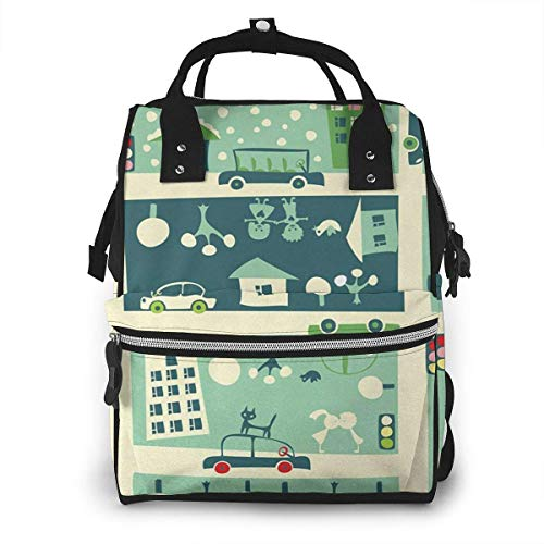 Nappy Changing Bag Backpack, Large Diaper Bags Children City Map 38 Multi-Function Waterproof Maternity Nappy Back Pack for Baby Care Mom Dad Travel