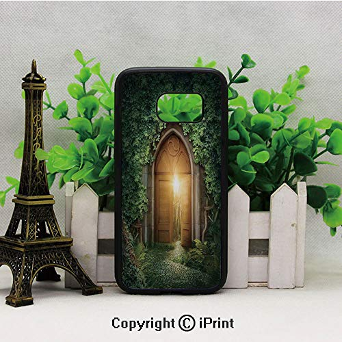 Sun Through Mysterious Half Opened Wooden Entrance with Greenery Samsung Galaxy S7 Case Hard Back Shock Drop Proof Impact Resist Protective Case for Samsung S7 Green Brown