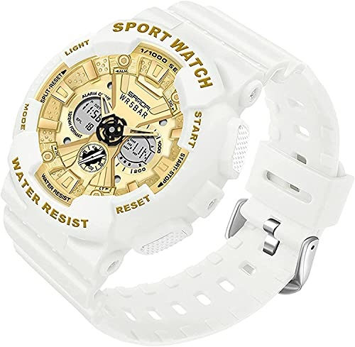 QHG Relojes Mujeres Multifunción Moda Sport Watch Analog Digital Watch Dual Pantalla Deportiva Reloj Deportivo Ladies electrónicos Reloj de Pulsera (Color : Whitegold)