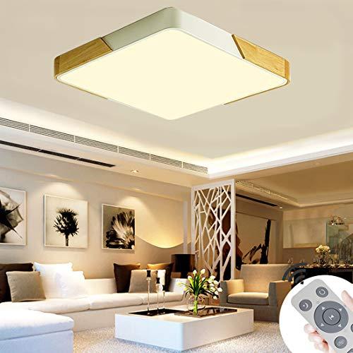 BFYLIN 60W LED Deckenleuchte Holz Deckenlampe Ultra-dünne 6cm für Schlafzimmer Wohnzimmer Kinderzimmer, Dimmbar Lampe (Eiche-Weiß-60W Platz)