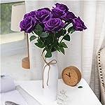 eternal blossom 10pcs artificial rose silk flower 50cm fake rose blossom bridal bouquet for home wedding decor (purple)