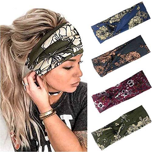 Sethexy Boho Verknotet Stirnband Elastisch Kreuz und quer Stirnband Elastisch Yoga Kopfwickel 4 Stück Sport Kopfbedeckung Kopftuch Laufen Stirnband für Frauen und Mädchen