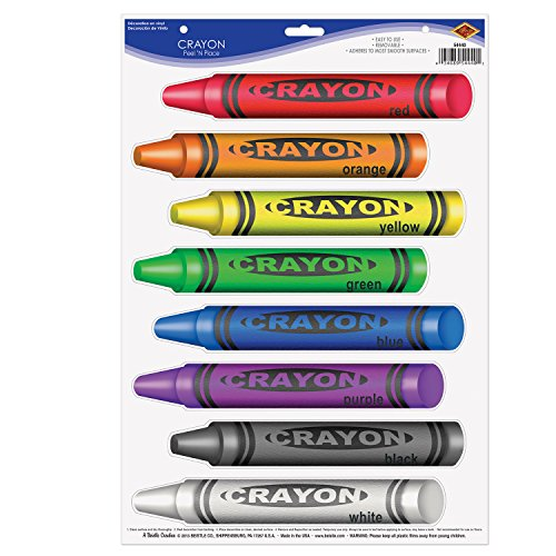 Beistle 54440 8-Piece Crayon Set Wall Clings- 1 Sheet, Multicolored