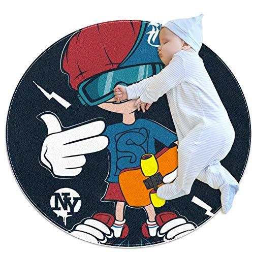 Yuzheng Skateboard Boy Round Area Rug Weiche und Bequeme rutschfeste Teppich-Außenmatte Bodenmatte zum Dekorieren von Schlafzimmer, Wohnzimmer und Kinderzimmer 80x80cm