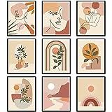 9 Pièces Art Mural Abstrait Impressions Murales Minimalistes Art Mural Minimaliste Boho Art de la Ligne Abstraite Femme Décoration Murale Abstraite de Peinture Végétale Botanique, sans Cadre