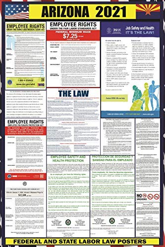 2021 Arizona (AZ) State Labor Law Poster - State, Federal and OSHA Compliant Laminated Poster - Ideal For Posting In The Workplace - Easy To Read Print - Perfect For Common Rooms And Cafeterias