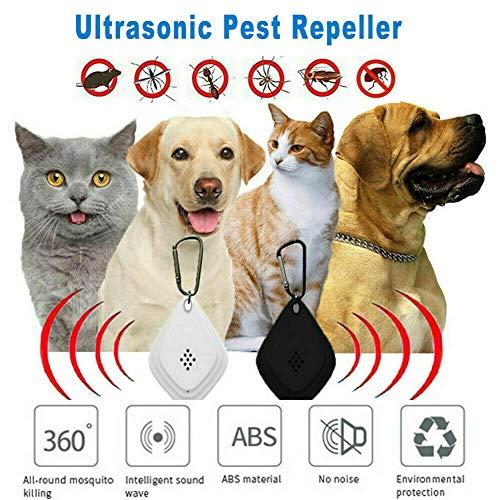 AKIIIZ Zeckenloser Ultraschall-Zecken- und Flohschutz gegen Hunde- und Katzenhalsband, Floh-, Läuse- und Zeckenbekämpfung für Hunde - natürlicher Flohschutz für Haustiere (Weiß)
