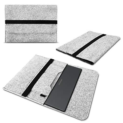 Nauci Laptop Schutzhülle kompatibel für Medion Akoya P3401T aus Filz mit Innentaschen Sleeve Hülle Tasche Cover 11.6 Zoll Notebook Hülle Tasche, Farbe:Hell Grau