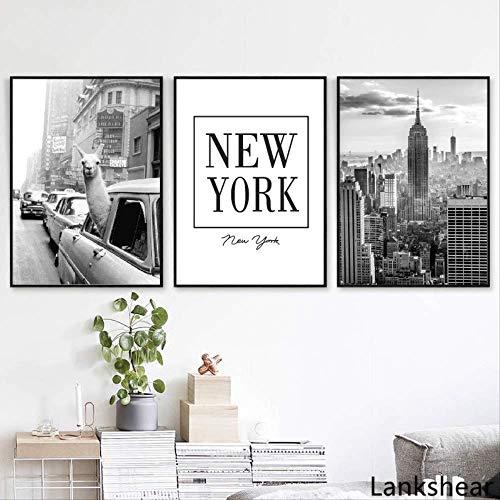 LWJZQT Leinwanddrucke 3 Stücke Lama In Einem Taxi Auf Times Square Leinwanddruck Und Poster Vintage Lama Druck Stadt Foto Bild Wandkunst Dekoration Kunstwerk 60×80cm